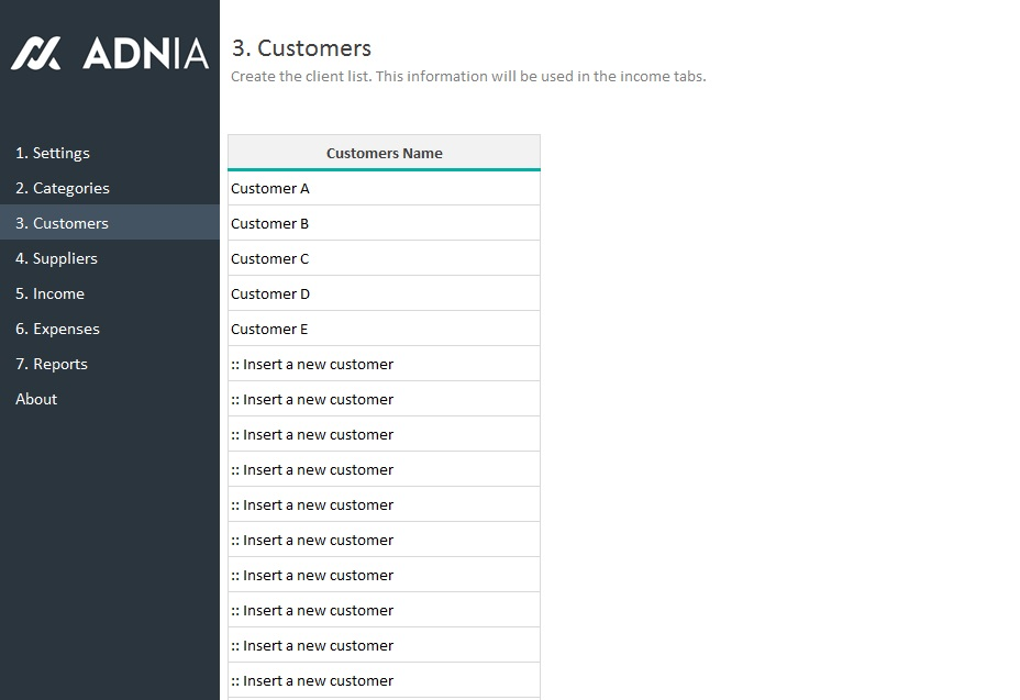 Settings Translations Categories Customers ...  Client List Template