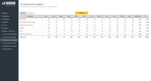 Business Finance Management Template -Expenses by Category
