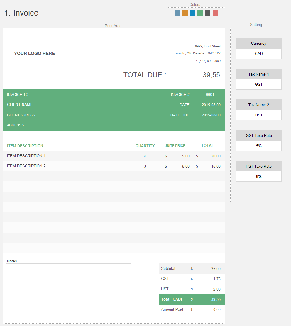 Simple Excel Invoice Template Adnia Solutions