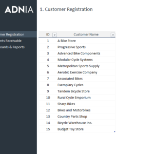 Accounts Receivable Dashboard Template - Customer Registration