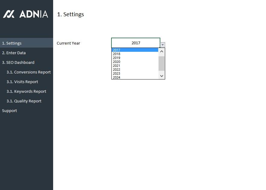 SEO Metrics Dashboard Template Adnia Solutions - Quality dashboard template