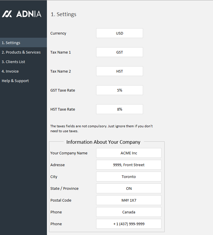 Automated Excel Invoice Template Adnia Solutions - Automated invoicing