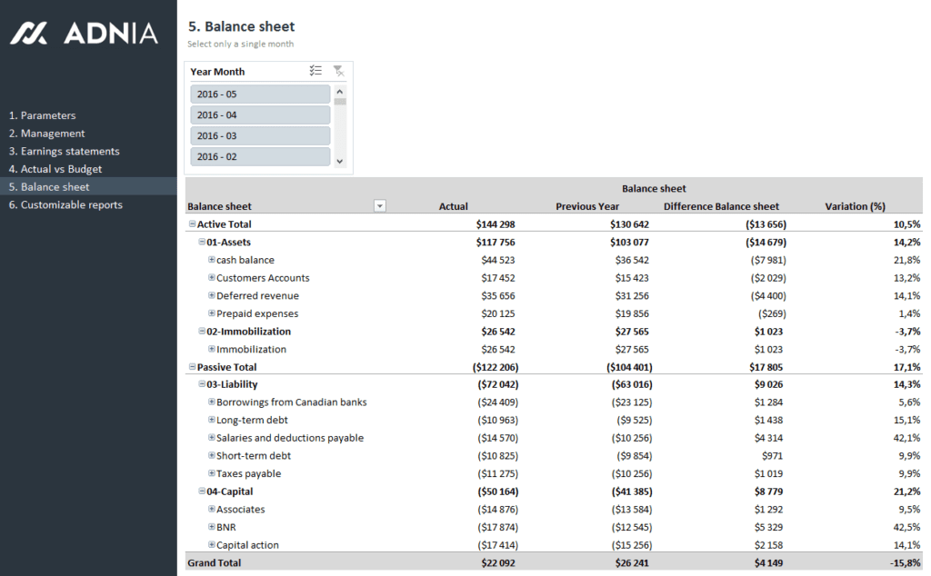 Finance 360 Plus -Balance Sheet