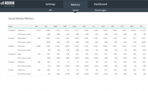 Social Media Dashboard Template - Social metrics