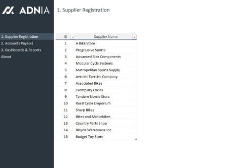 Account Payable Management Template - Supplier Registration