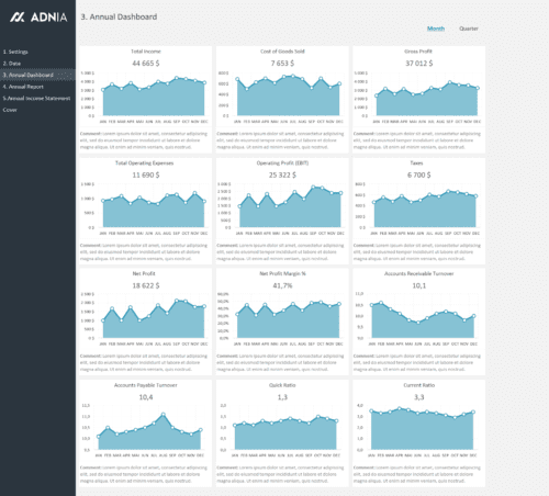 Annual Financial Report Template - Financial Dashboard - Month