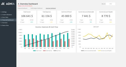 Financial KPI Dashboard Template - Financial Overview Dashboard