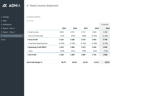 Yearly Financial Comparison Report Template - Yearly Income Statement