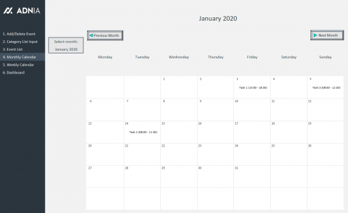 Automated Monthly Schedule Template Excel - Calendar