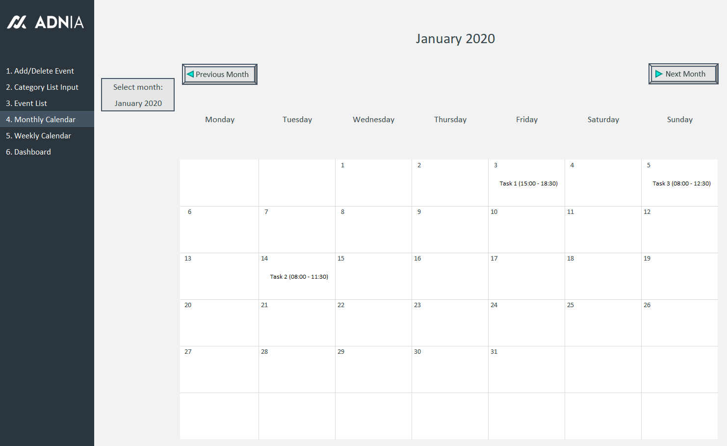 Automated Schedule Excel Template - Monthly Calendar