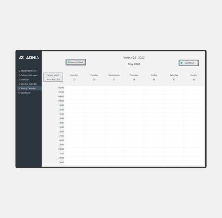 Automated Weekly Schedule Excel Template - Cover