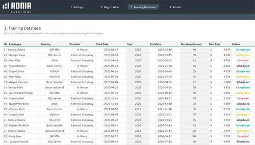 Training Tracker Excel Template - Training Database