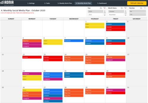Social Media Calendar Template - Monthly Social Media Plan